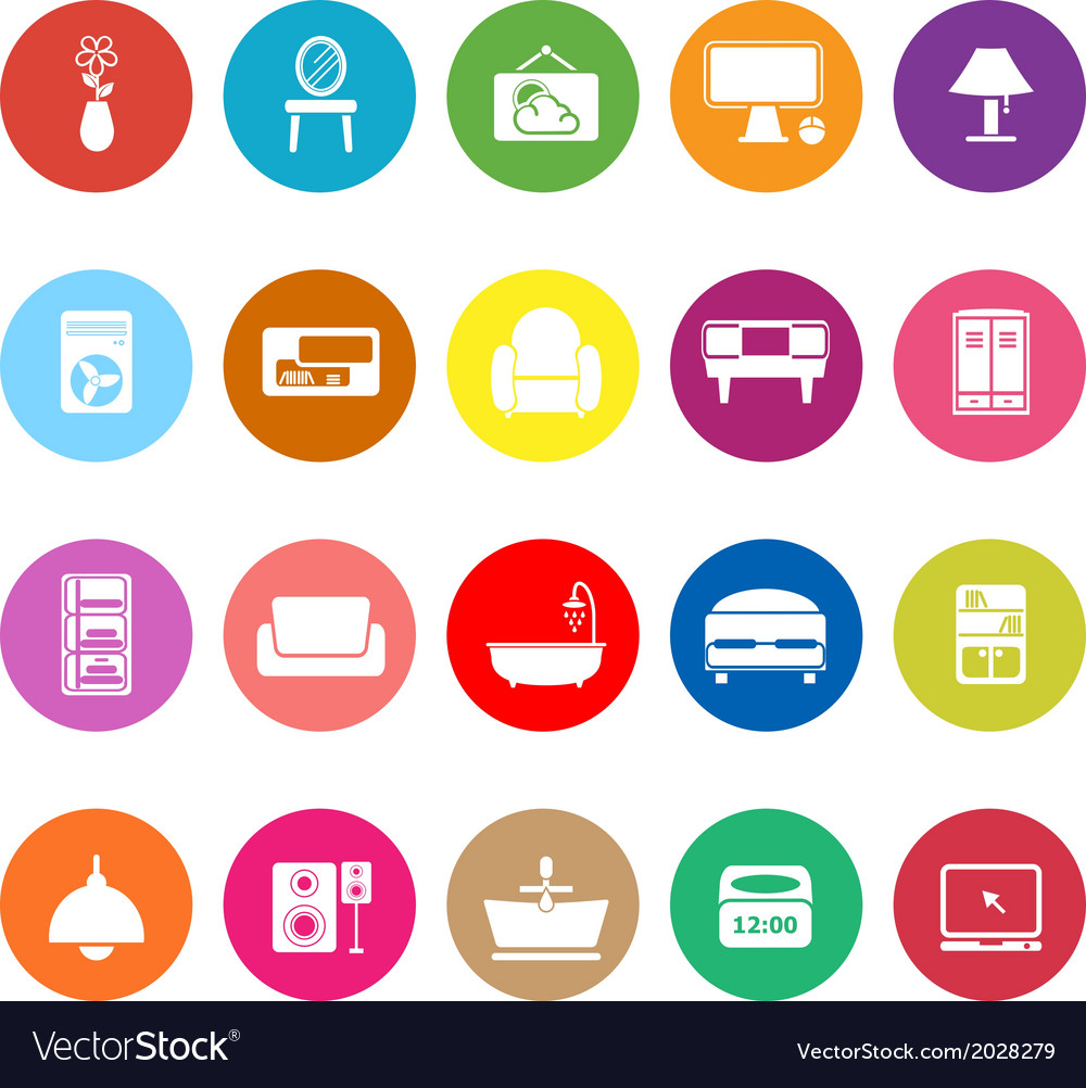 Home furniture flat icons on white background vector | Price: 1 Credit (USD $1)