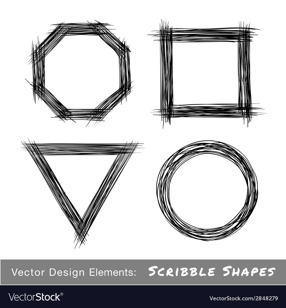Set of hand drawn scribble shapes design elements vector | Price: 1 Credit (USD $1)