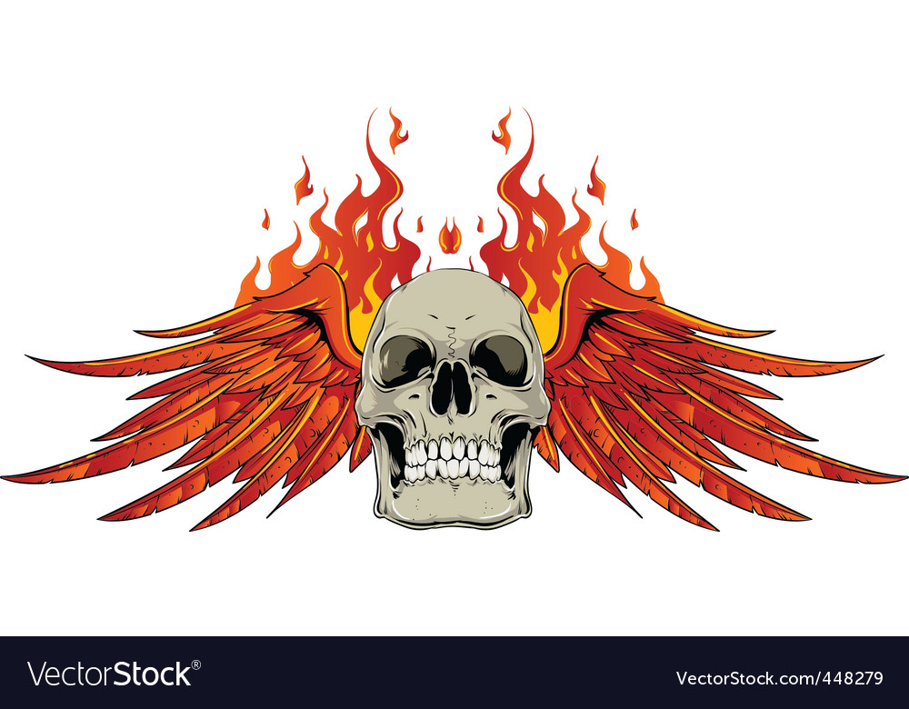 Skull wings and flames vector | Price: 3 Credit (USD $3)