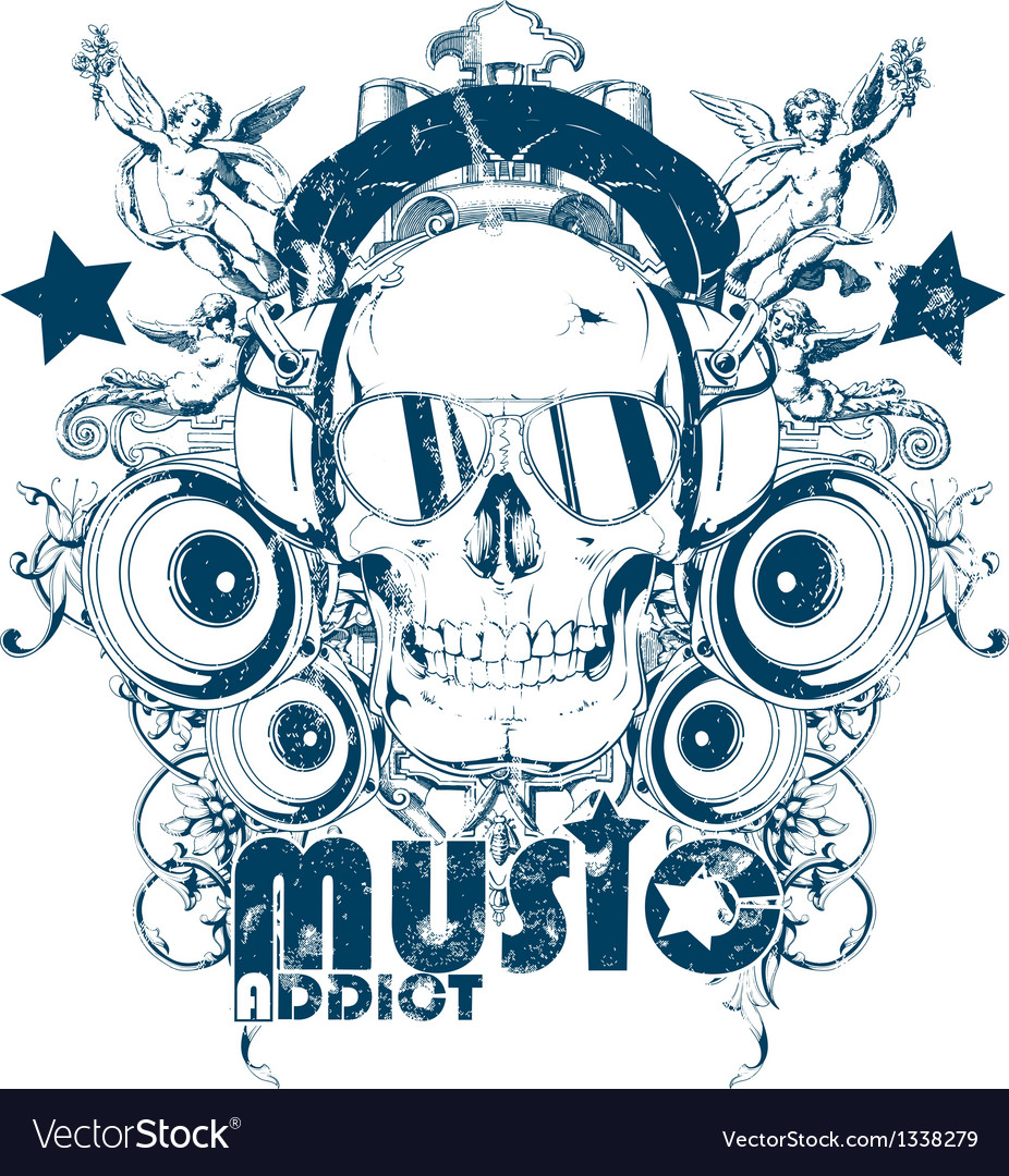 Skull with headphones vector | Price: 1 Credit (USD $1)