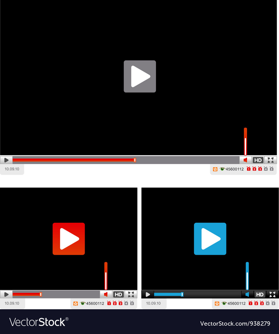 Web video player vector | Price: 1 Credit (USD $1)