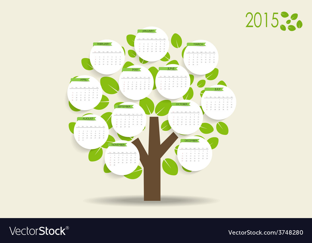2015 modern calendar with nature background vector | Price: 1 Credit (USD $1)