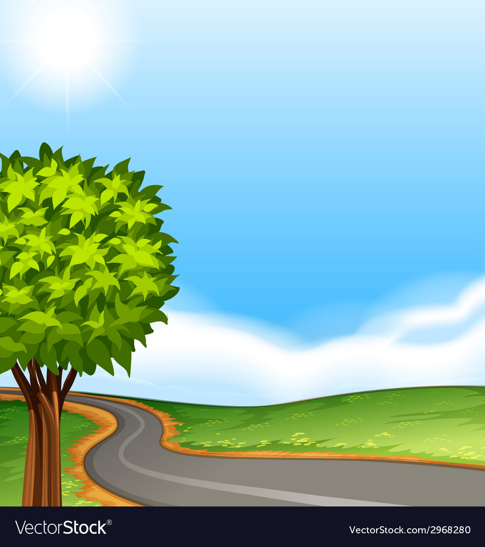 A tree along the road vector | Price: 1 Credit (USD $1)