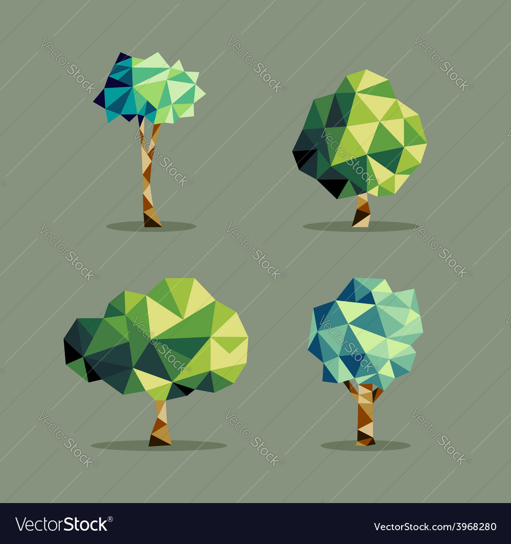 Abstract triangle tree set vector | Price: 1 Credit (USD $1)