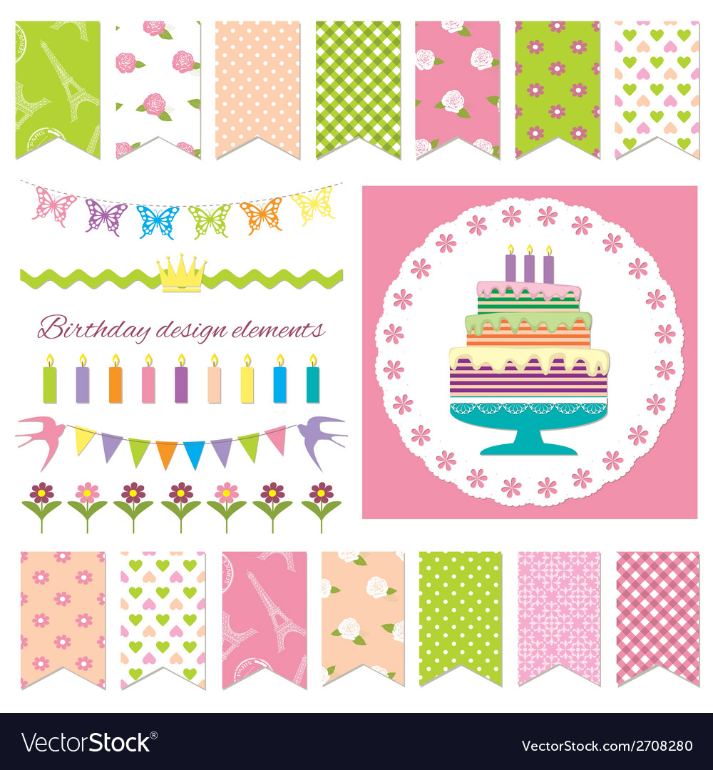 Birthday party design elements vector | Price: 1 Credit (USD $1)