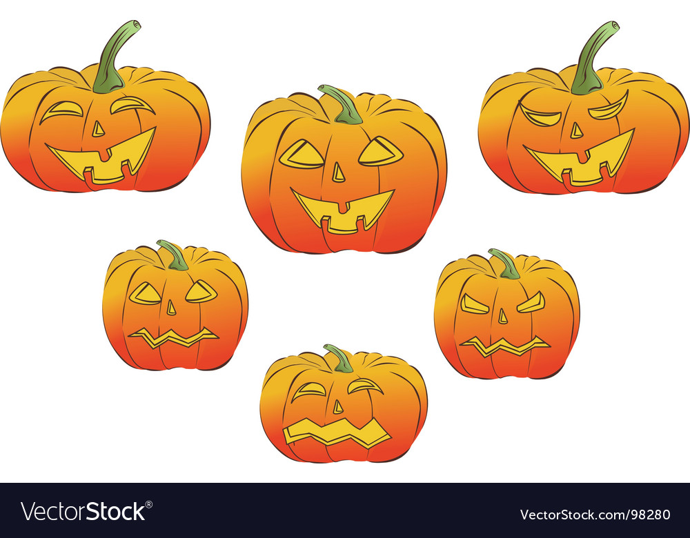 Collection of six jack lanterns vector   Price: 1 Credit (USD $1)