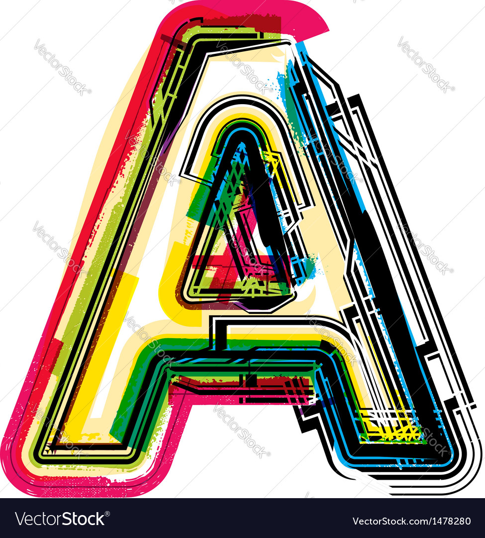 Colorful grunge font letter a vector   Price: 1 Credit (USD $1)