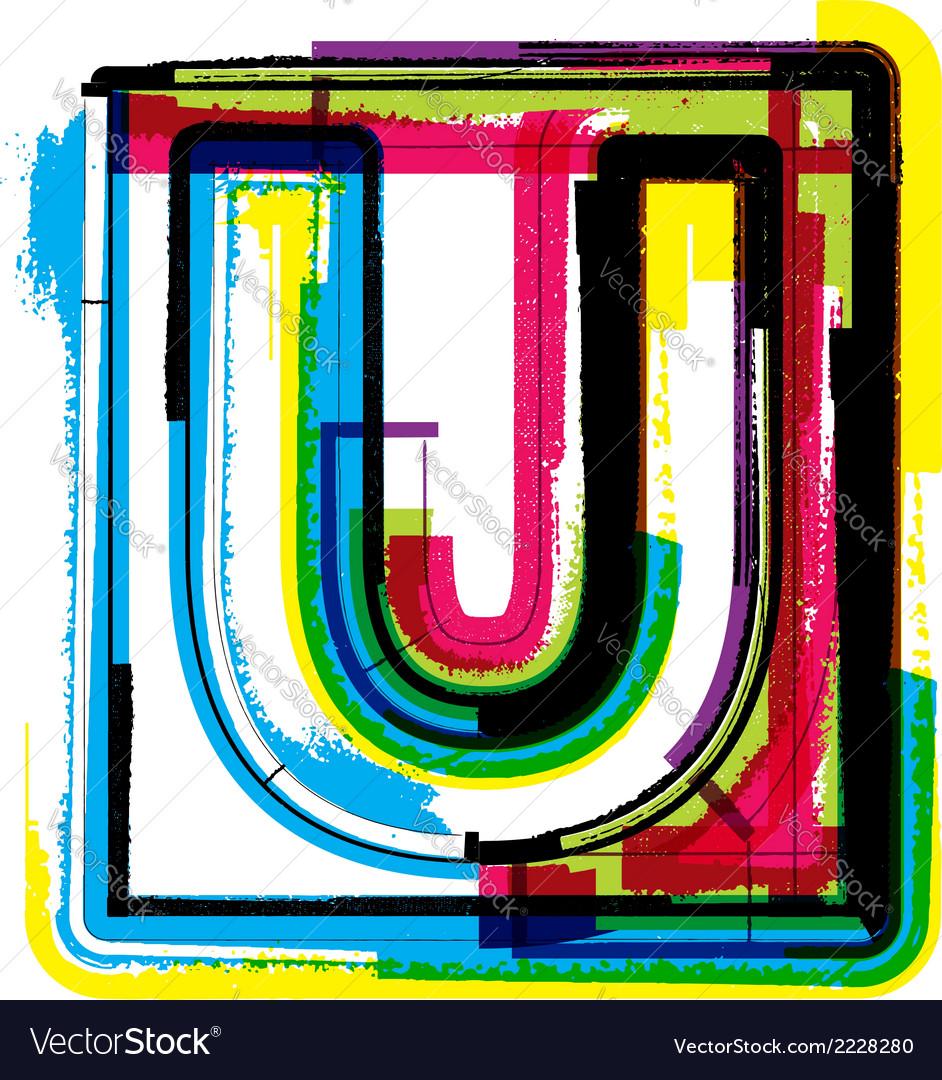 Colorful grunge font letter u vector   Price: 1 Credit (USD $1)