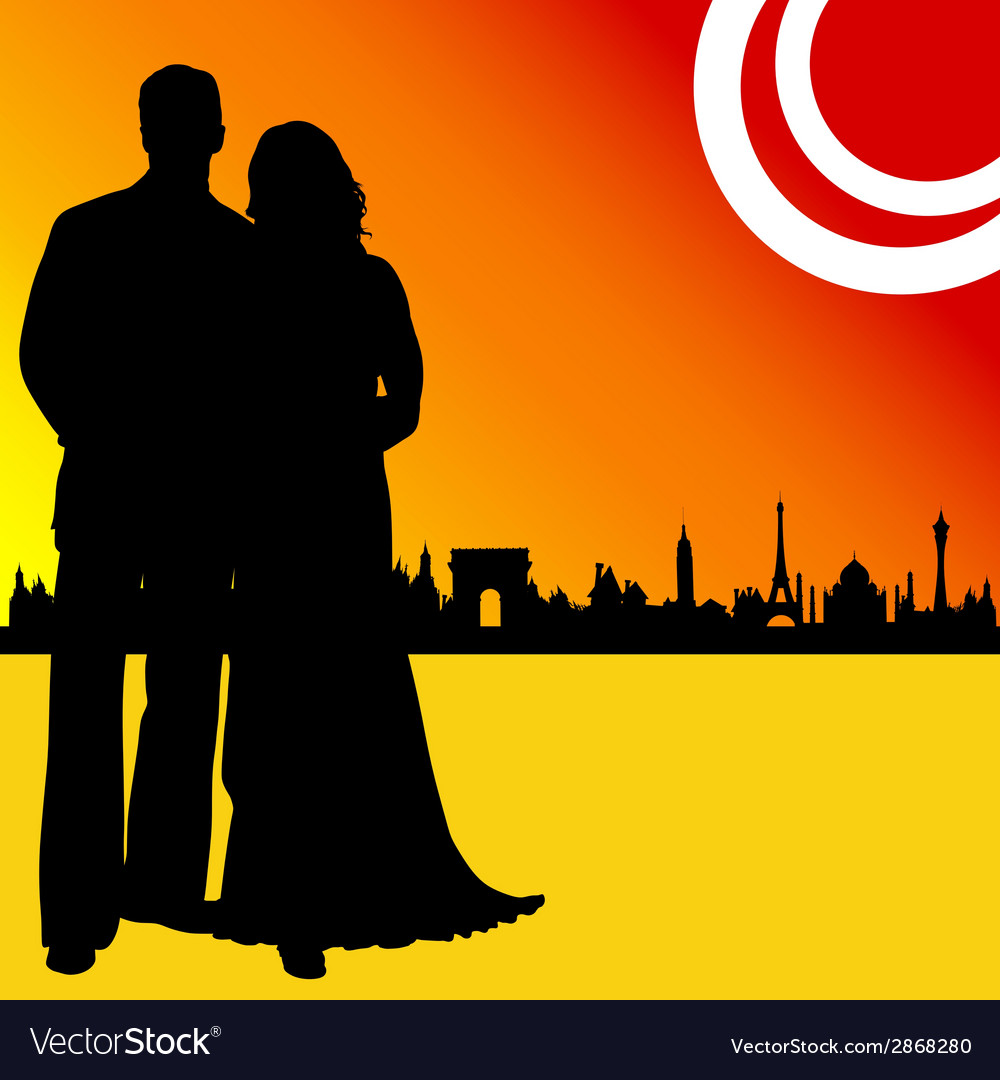 Couple wedding and of city vector | Price: 1 Credit (USD $1)