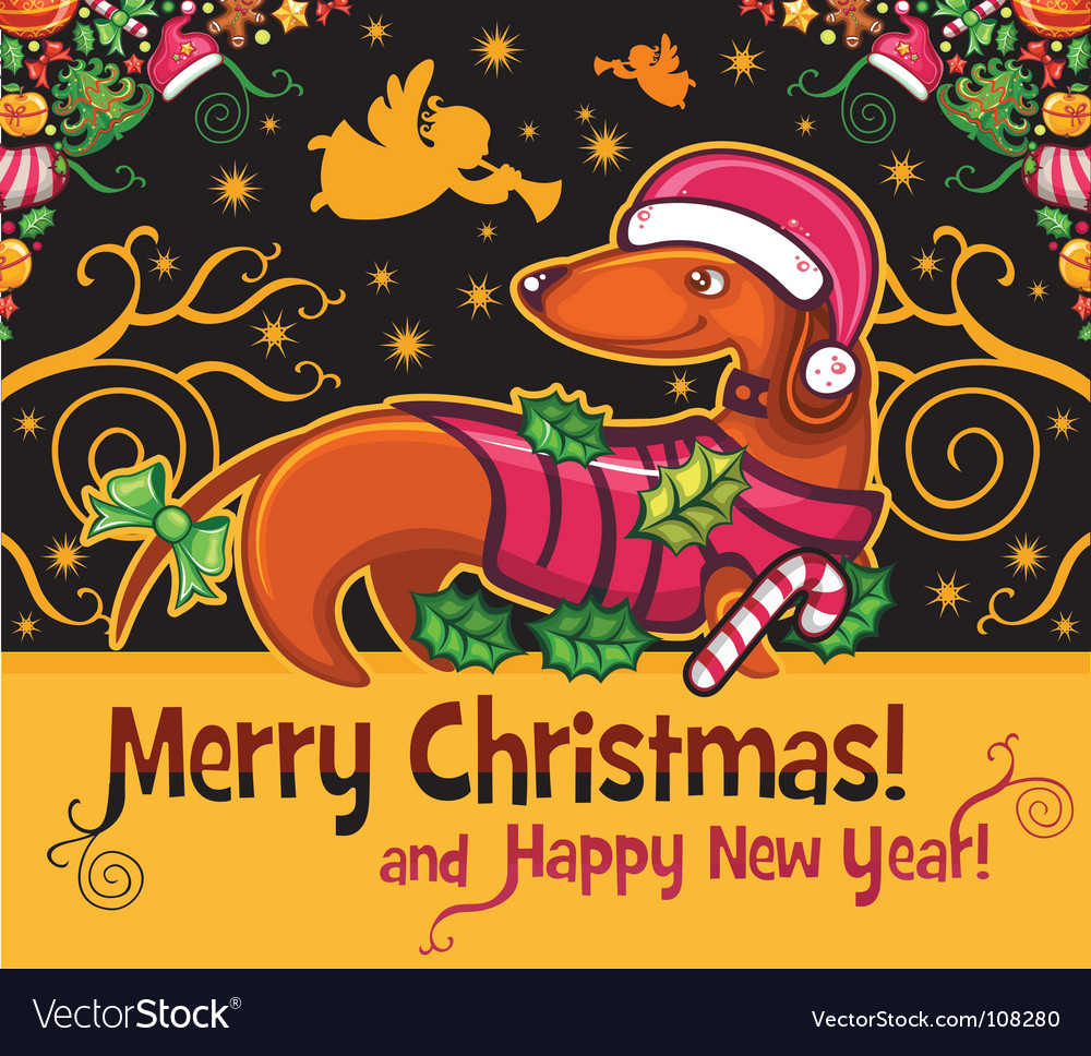 Dachshund christmas card vector