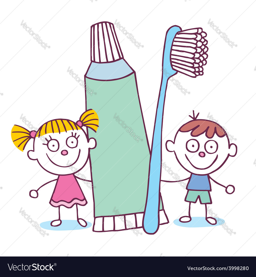 Dental hygiene kids with toothbrush and toothpaste vector | Price: 1 Credit (USD $1)