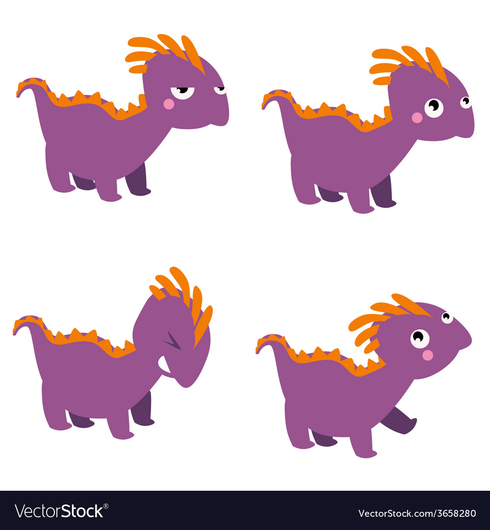 Dinosaur characters set vector | Price: 1 Credit (USD $1)