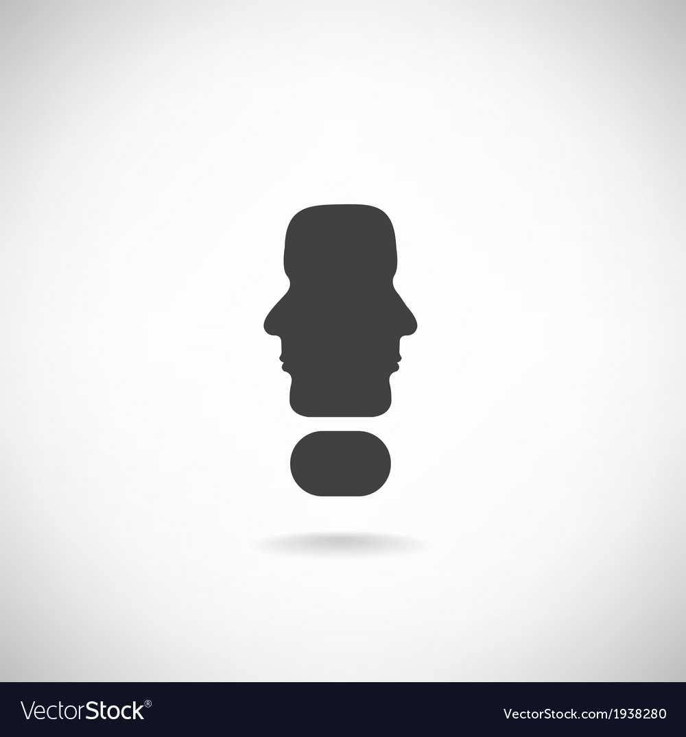 Exclamation mark man head symbol vector | Price: 1 Credit (USD $1)