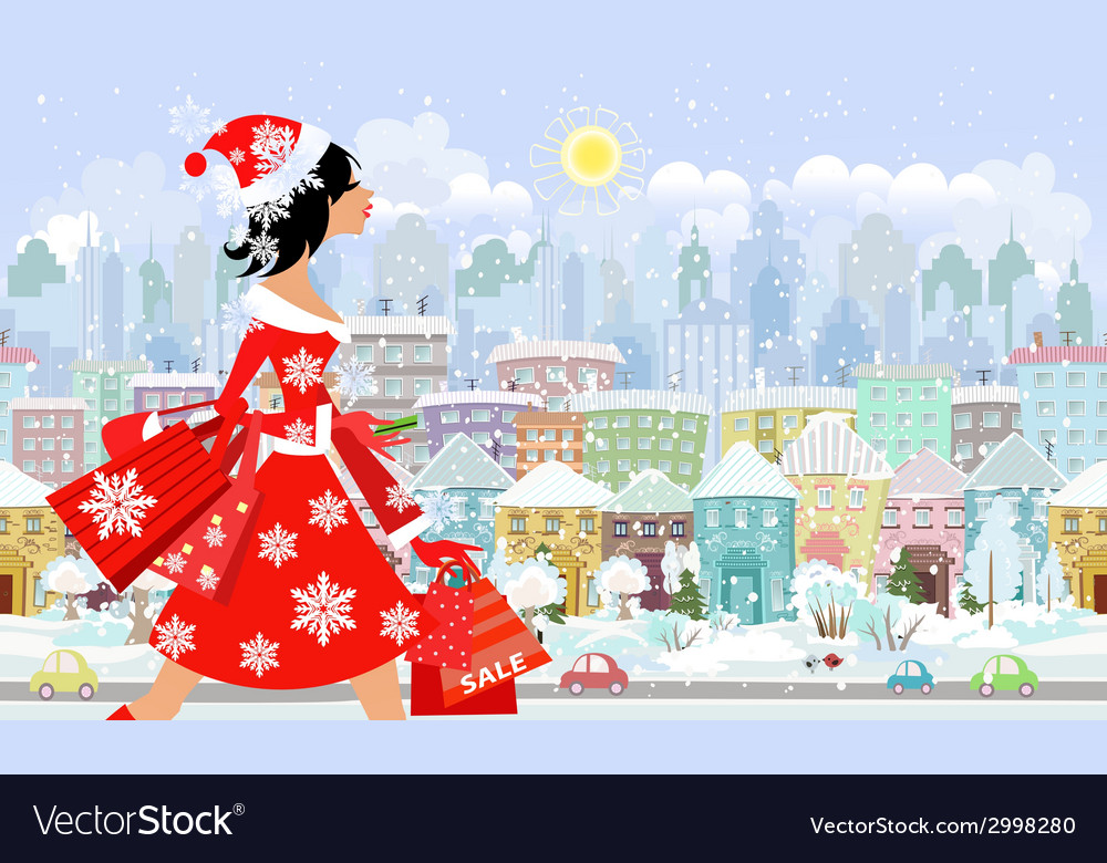 Fashion girl santa with purchase in a city vector | Price: 1 Credit (USD $1)