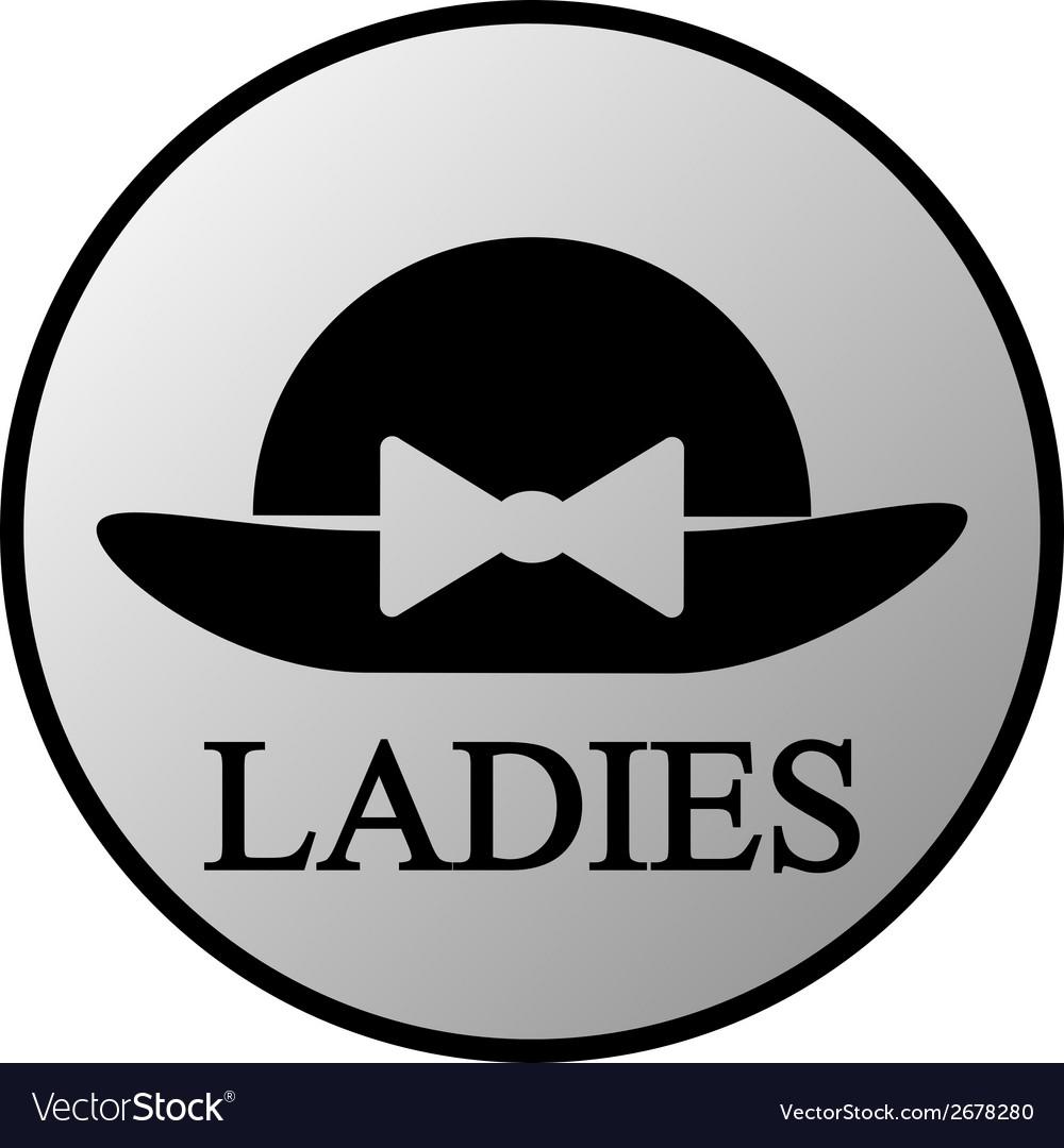Female restroom symbol button vector | Price: 1 Credit (USD $1)