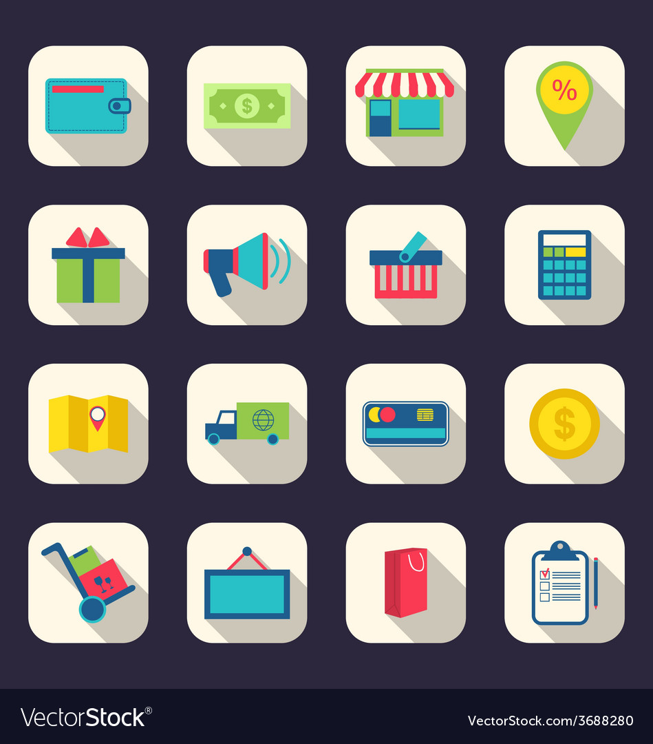 Flat icons of e-commerce shopping symbol online vector | Price: 1 Credit (USD $1)