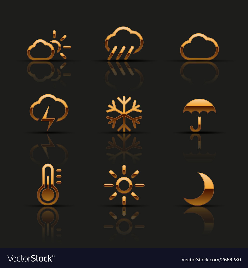 Golden weather icons set vector | Price: 1 Credit (USD $1)