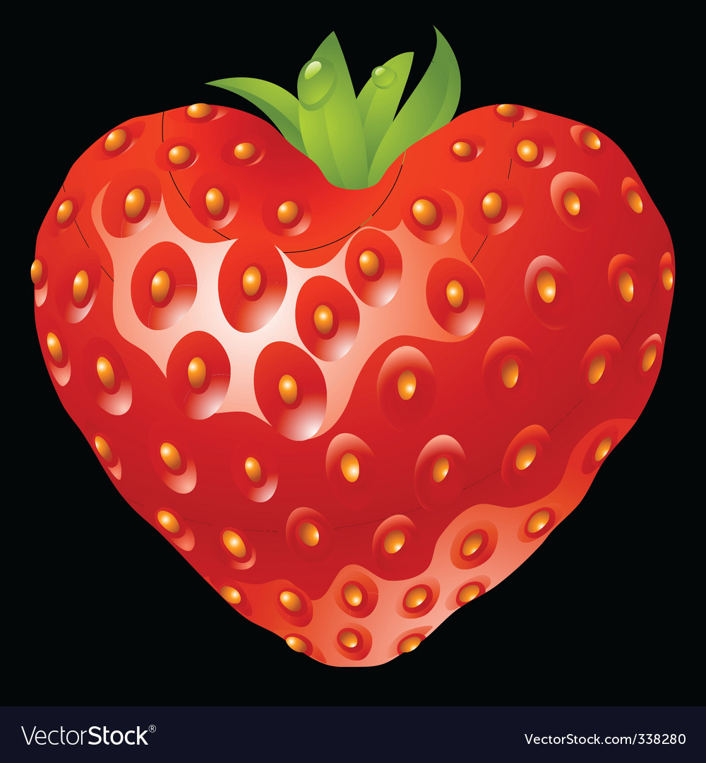 Strawberry heart vector | Price: 1 Credit (USD $1)