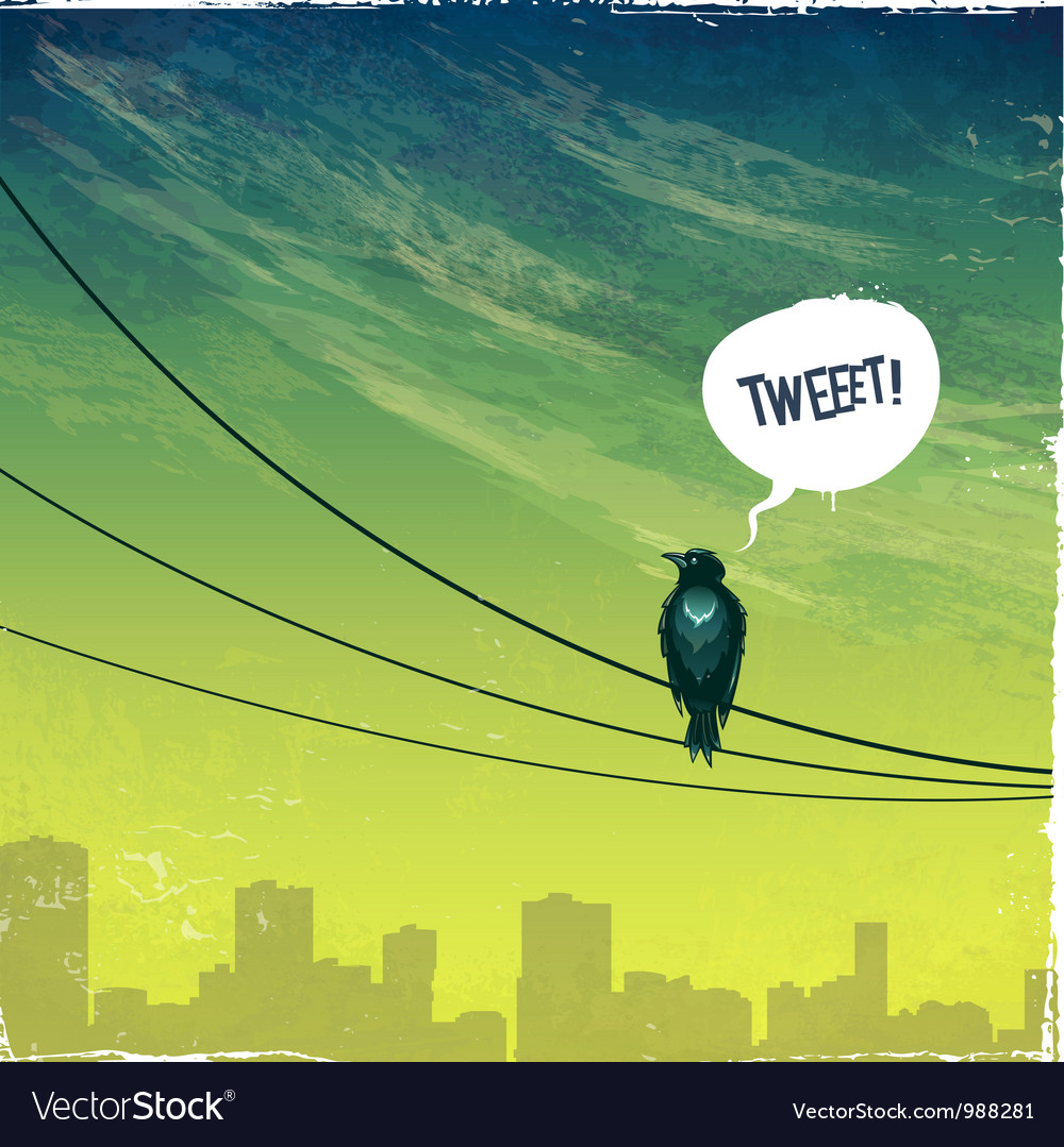 Bird on wire vector | Price: 1 Credit (USD $1)