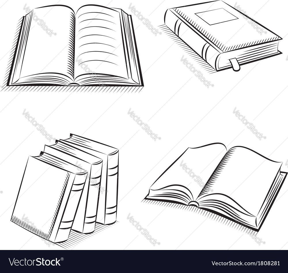 Book and notebook sketch set vector | Price: 1 Credit (USD $1)
