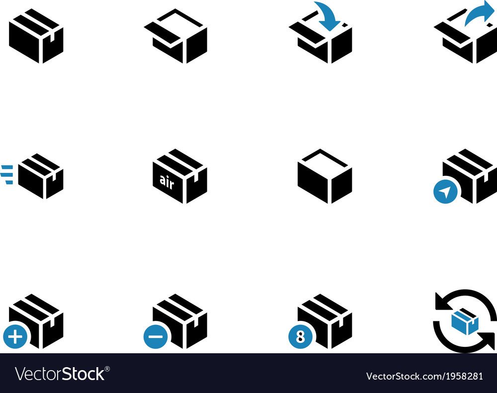 Box duotone icons on white background vector | Price: 1 Credit (USD $1)