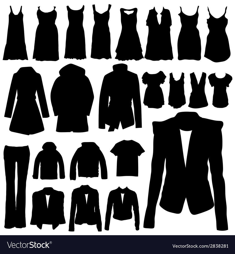 Clothing in black silhouette vector | Price: 1 Credit (USD $1)