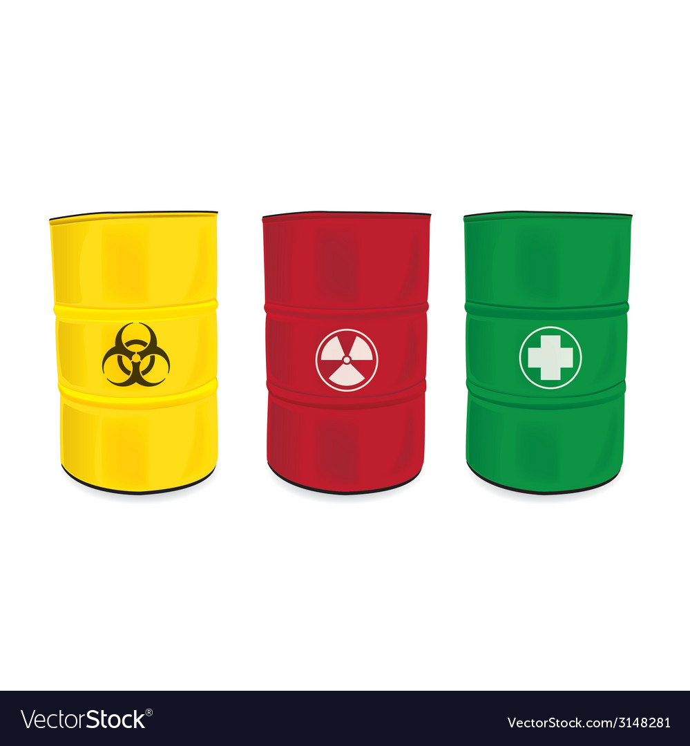 Colorfu barrel with a radioactive warning label vector | Price: 1 Credit (USD $1)