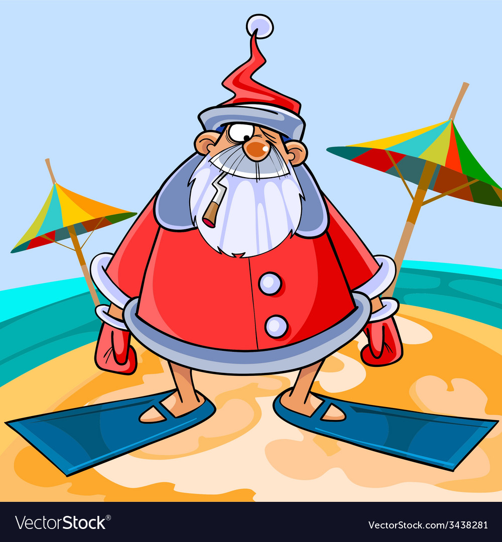 Funny cartoon santa claus wearing flippers vector | Price: 1 Credit (USD $1)
