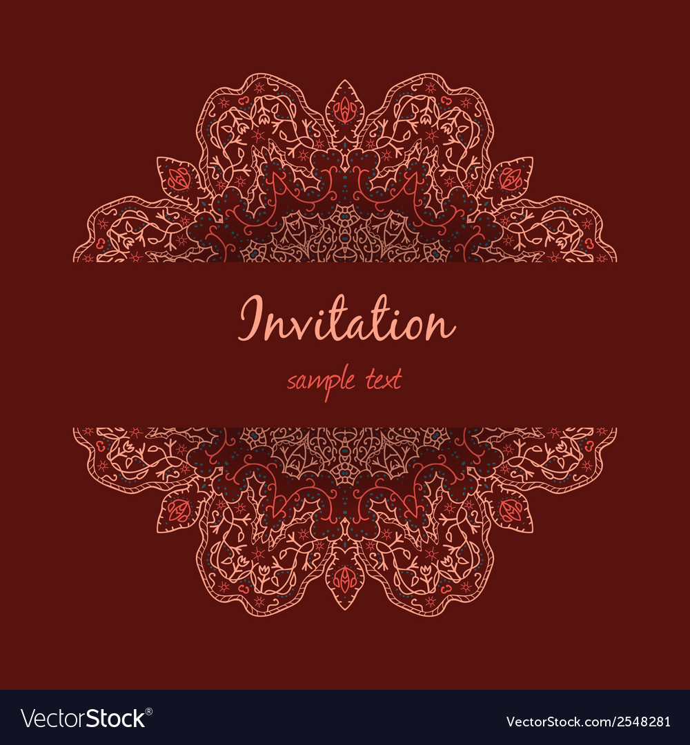 Invitation with floral ornament vector | Price: 1 Credit (USD $1)