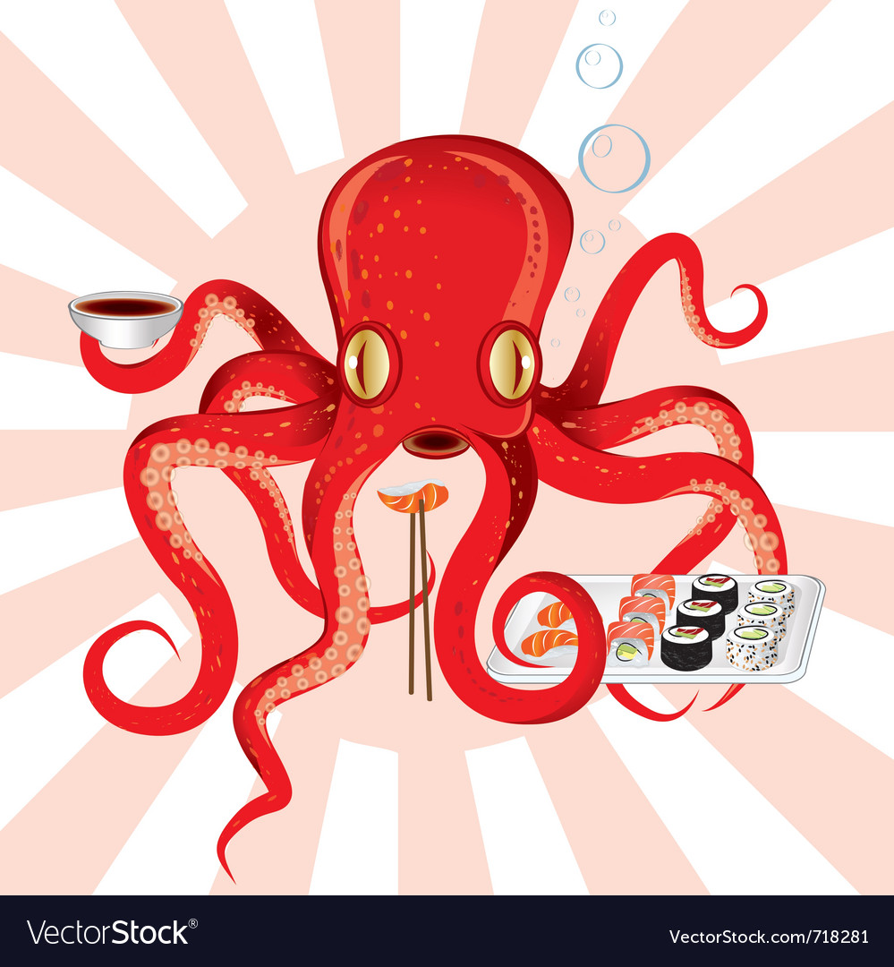 Japan octopus sushi feast vector | Price: 3 Credit (USD $3)