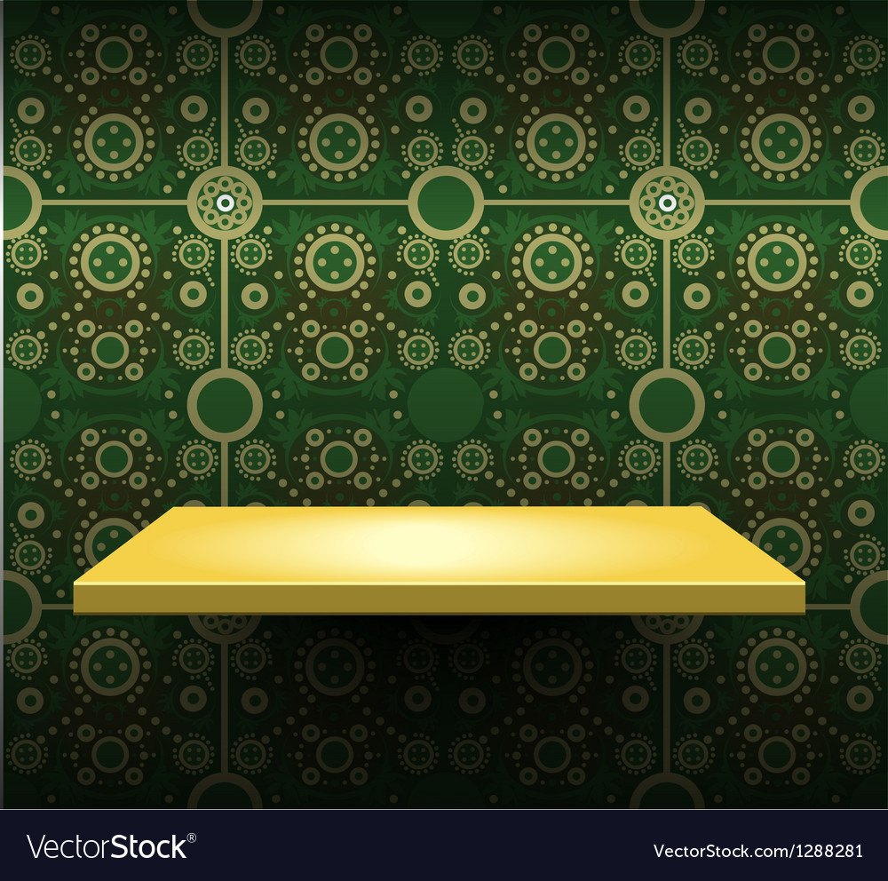 Luxury yellow shelf on green wallpaper vector | Price: 1 Credit (USD $1)