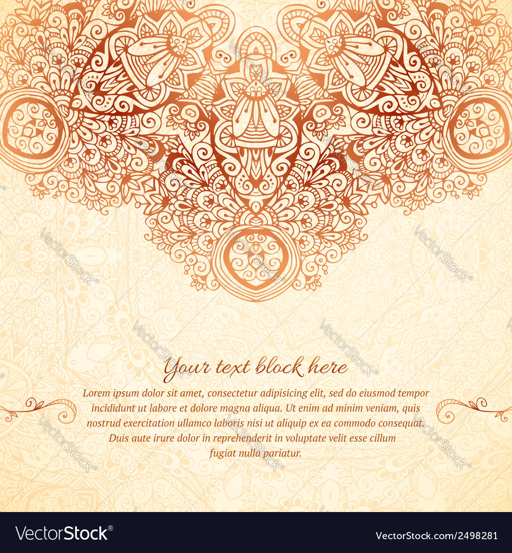 Ornate vintage background in mehndi style vector   Price: 1 Credit (USD $1)