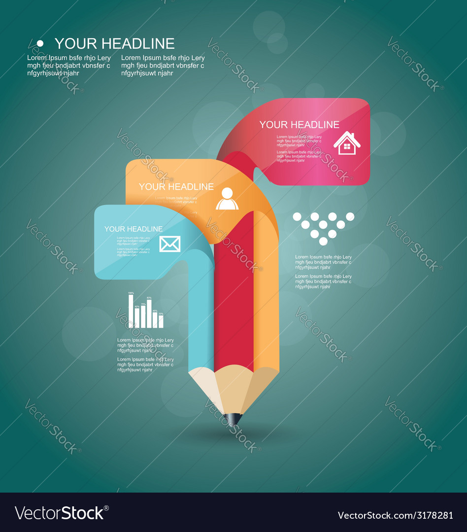 Pencil infographic timeline template with icons vector | Price: 1 Credit (USD $1)