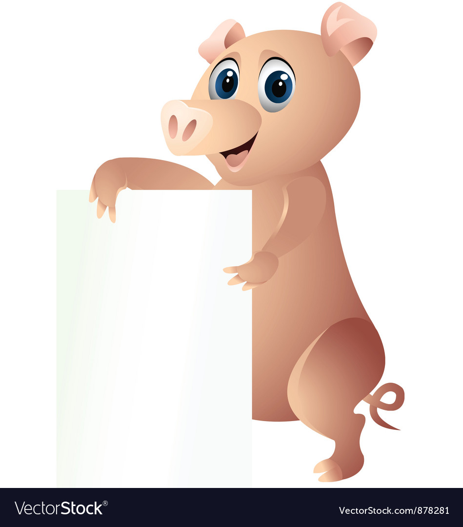 Pig with blank sign vector | Price: 1 Credit (USD $1)
