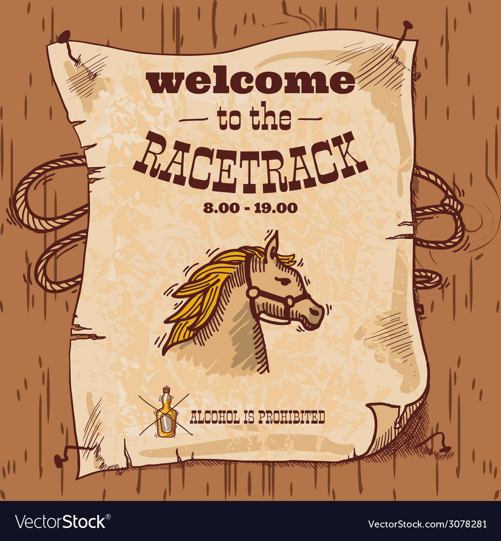 Racetrack retro poster vector | Price: 1 Credit (USD $1)
