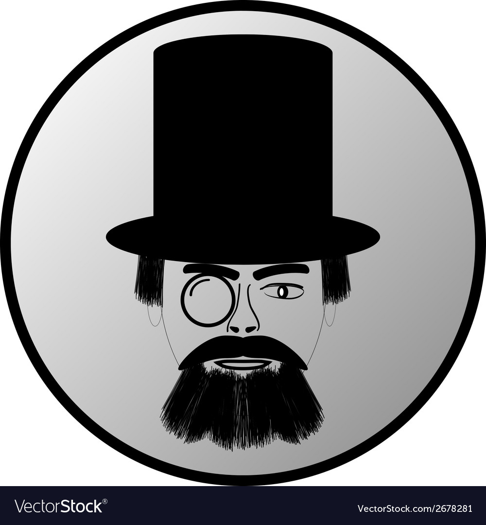 Retro man portrait button vector | Price: 1 Credit (USD $1)