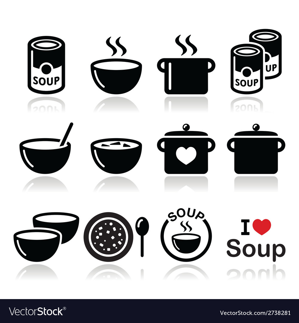 Soup in bowl can and pot - food icon set vector | Price: 1 Credit (USD $1)