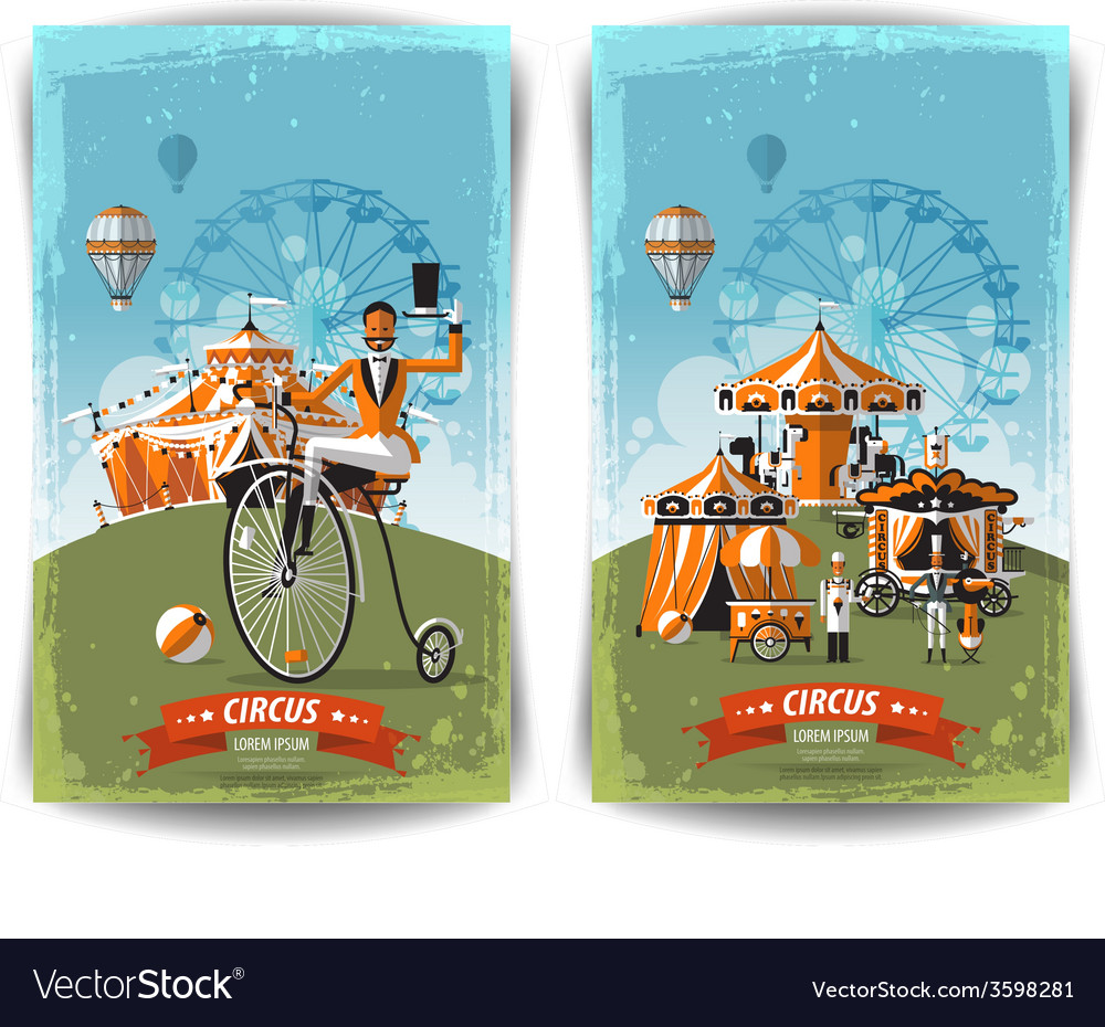 Vintage circus poster template flyer banner vector | Price: 3 Credit (USD $3)