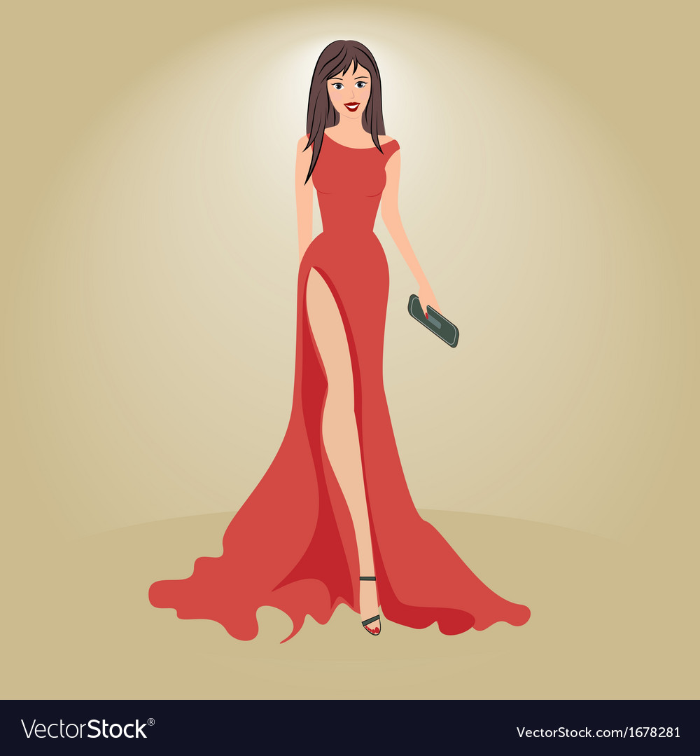 Woman in evening dress with a clutch vector | Price: 1 Credit (USD $1)