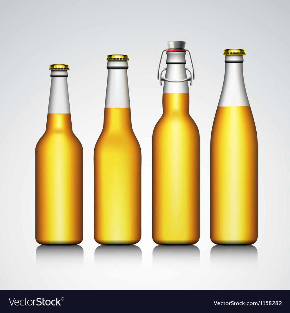 Beer bottle clear set with no label vector | Price: 1 Credit (USD $1)