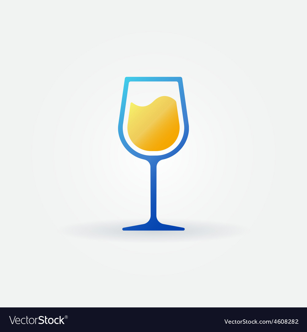 Blue glass of white wine icon vector   Price: 1 Credit (USD $1)