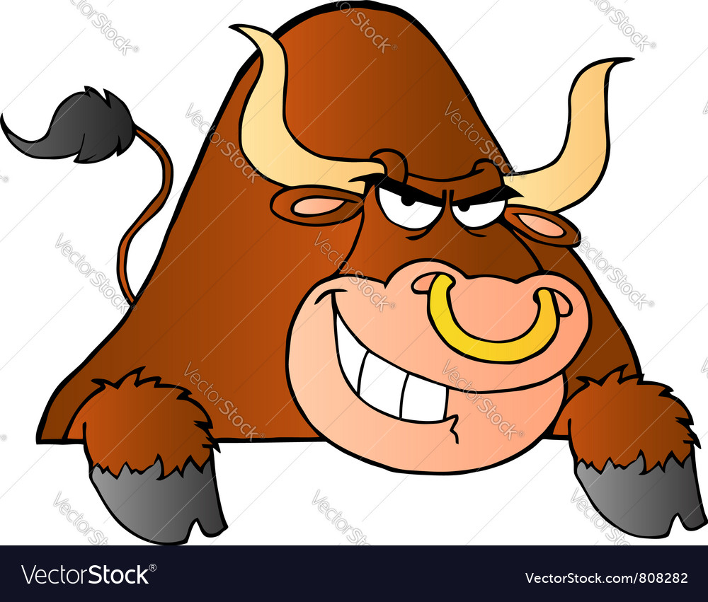 Brown bull over a sign vector | Price: 1 Credit (USD $1)