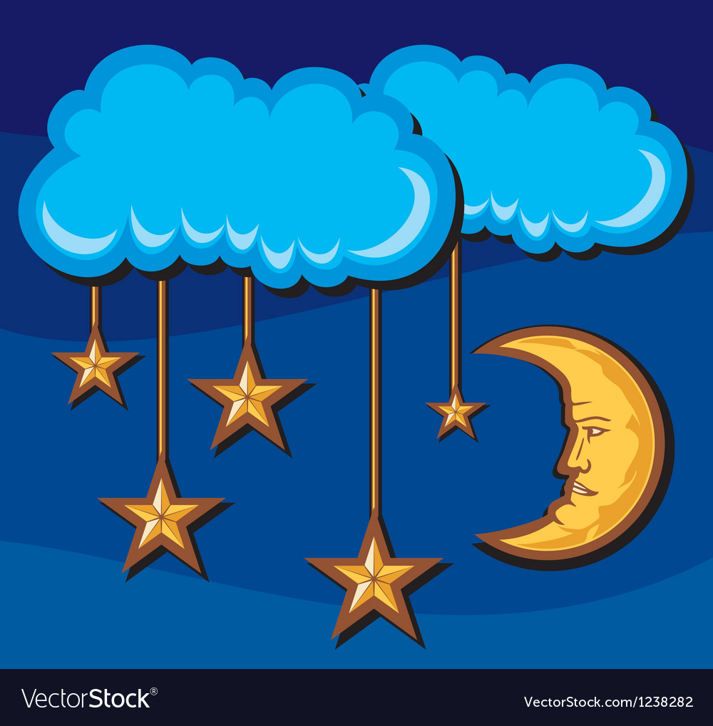 Crescent moon with stars in night vector | Price: 3 Credit (USD $3)