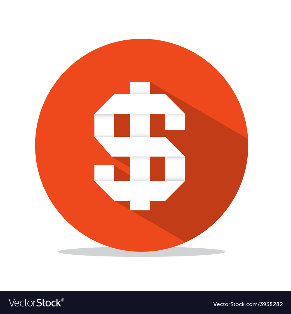Flat design dollar sign in red circle vector | Price: 1 Credit (USD $1)