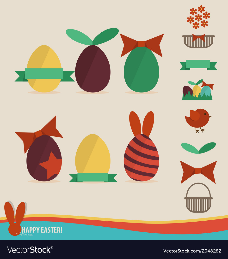 Happy easter cards with easter eggs ribbon vector | Price: 1 Credit (USD $1)