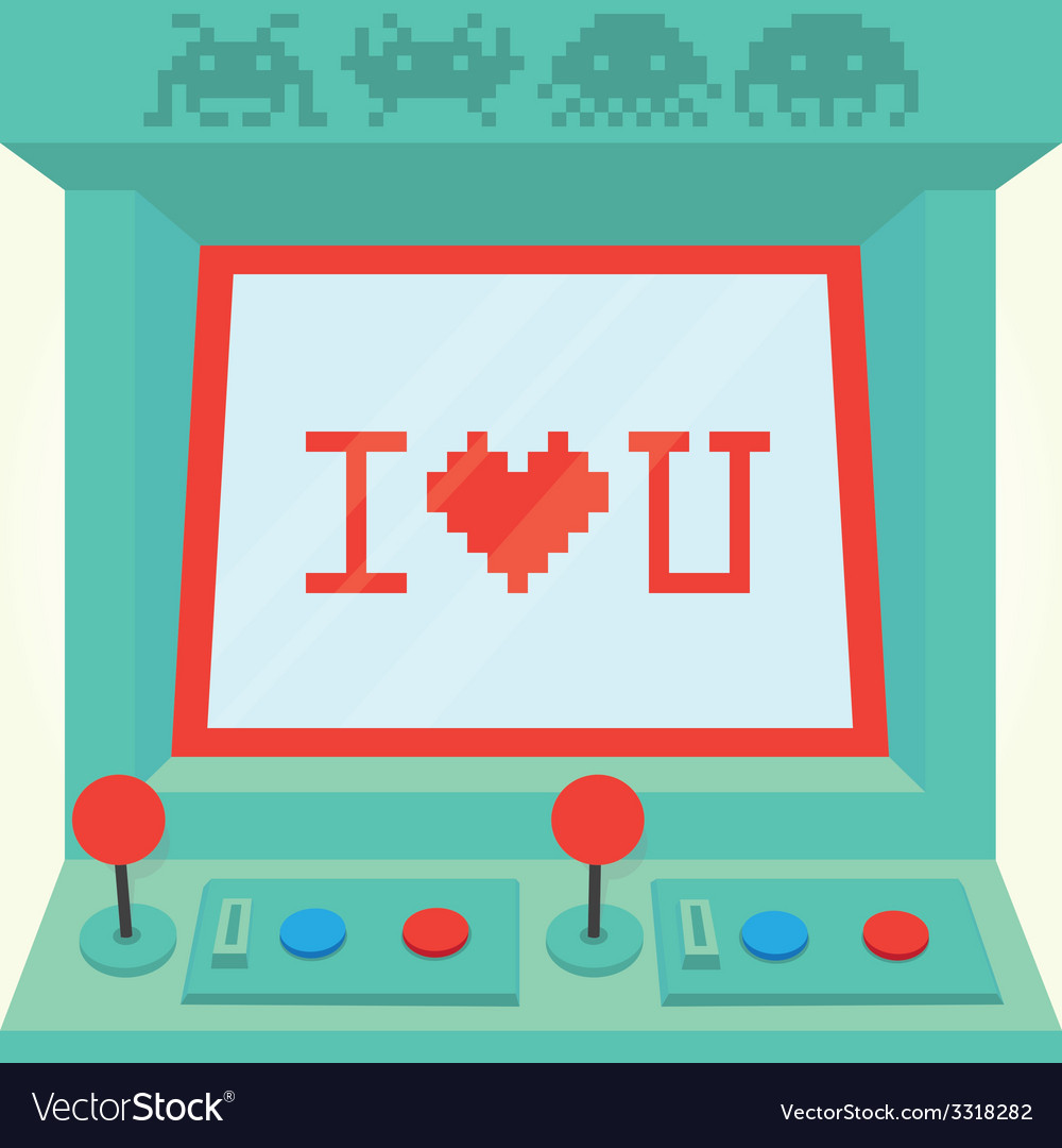 I love you arcade machine isolated vector | Price: 1 Credit (USD $1)