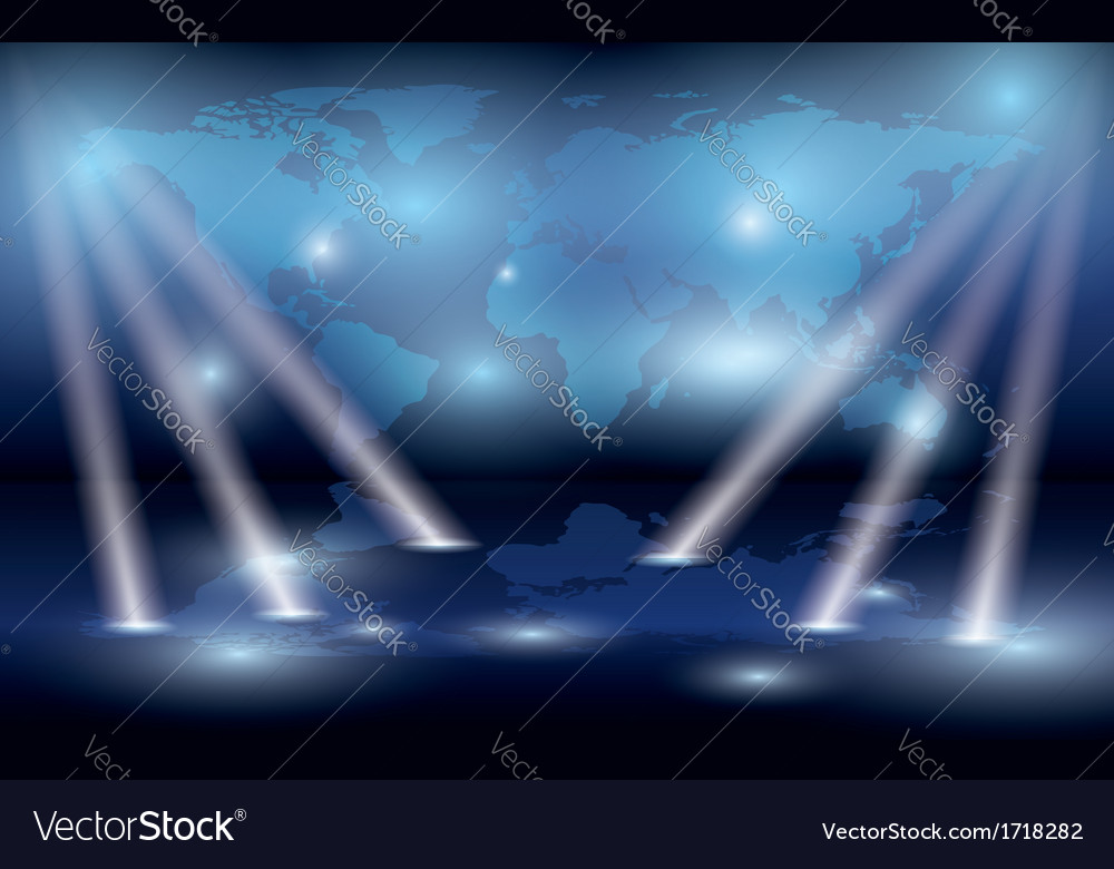 Map of the world on the wall and lights vector | Price: 1 Credit (USD $1)