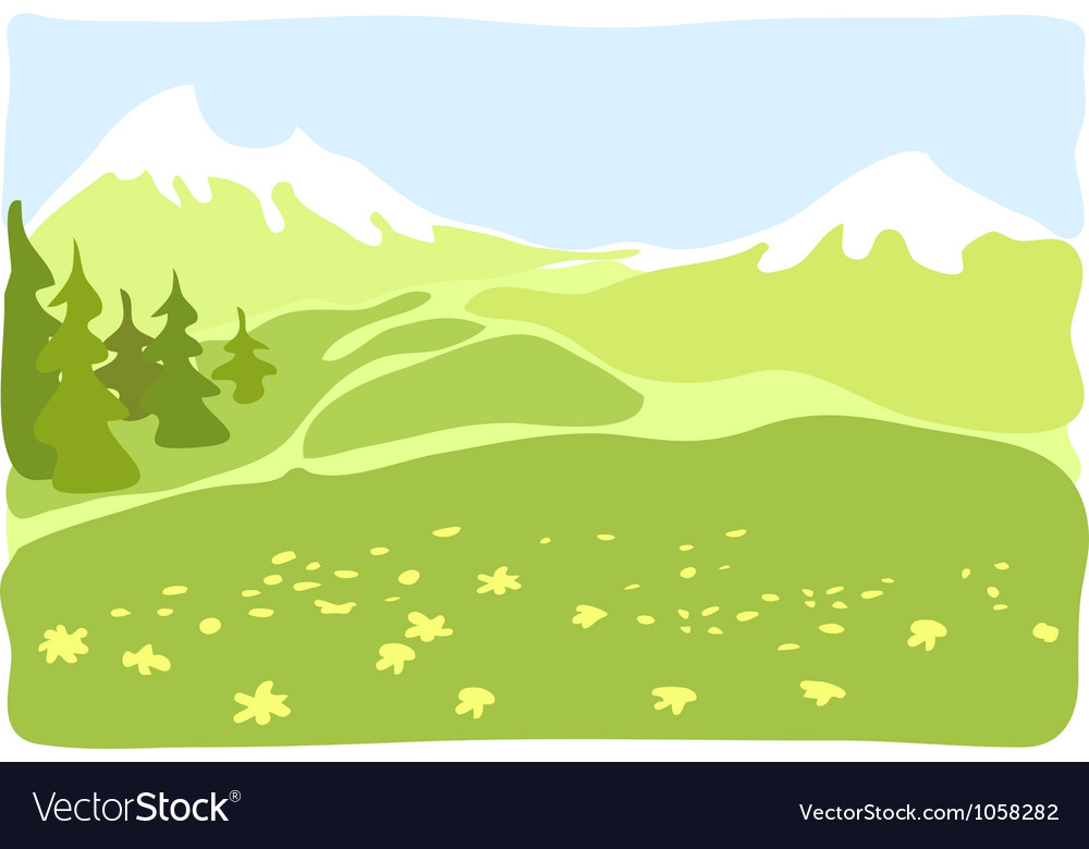 Meadow in a mountain valley vector | Price: 1 Credit (USD $1)