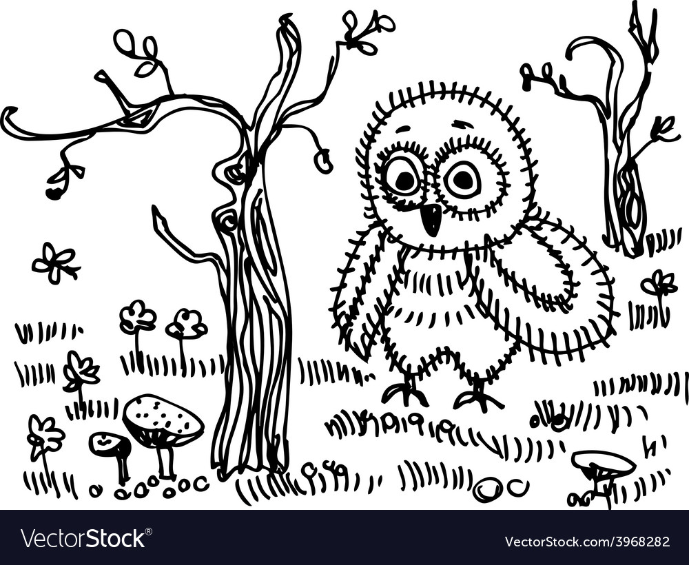 Owl trees grass mushrooms black contour on a white vector | Price: 1 Credit (USD $1)