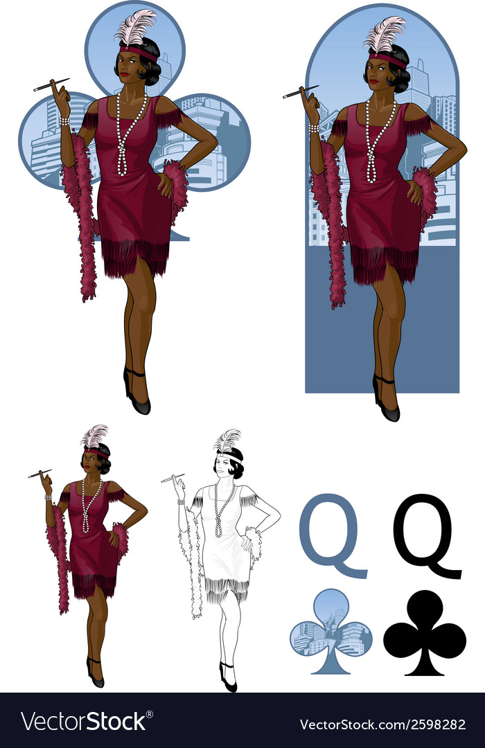 Queen of clubs afroamerican starlet mafia card set vector | Price: 3 Credit (USD $3)